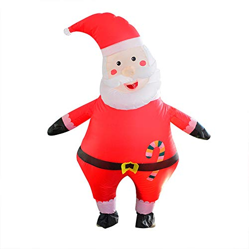 Haooyeah Aufblasbares Weihnachtsmann-Kostüm, riesiger aufblasbarer Weihnachtsanzug, niedlicher lustiger Unisex-Kostüm-Cosplay-Anzug für Weihnachtsfeiern und Kostüm.