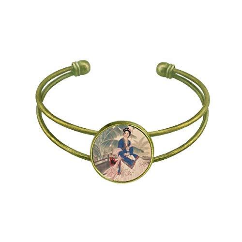 DIYthinker Blatt Blume Weiß Blau Rosa Kleidung Armband Armreif Retro Offene Manschette Schmuck