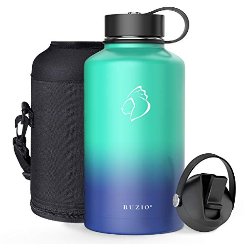 BUZIO Vacuum Insulated Stainless Steel Water Bottle 64oz (Cold for 48 Hrs/Hot for 24 Hrs) BPA Free Double Wall Travel Mug/Flask for Outdoor Sports Hiking, Cycling, Cam,Camping, Running, Pacific Dream