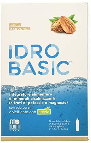 IDROBASIC di Biohealth Italia - Integratore Alimentare di Minerali Alcalinizzanti Dolcificato con Stevia, Gusto Mandorla - Confezione da 15 bustine