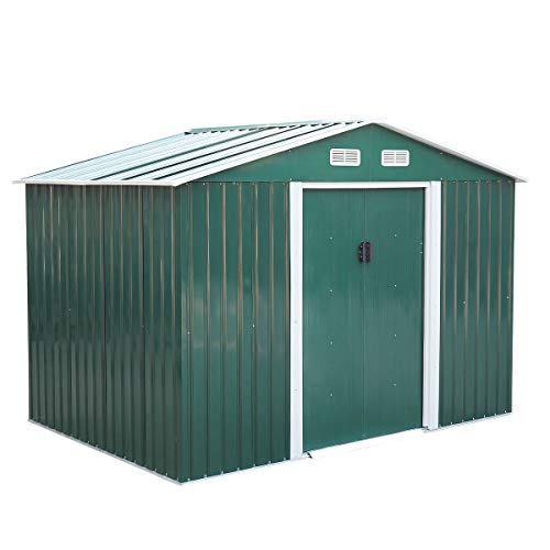 JAXPETY 6.3' x 9.1' Large Outdoor Garden Storage Shed, Backyard Steel Utility Tool Shed, Lawn Garage Building Organizer w/Sliding Door, Gable Roof, 4 Vents- Green