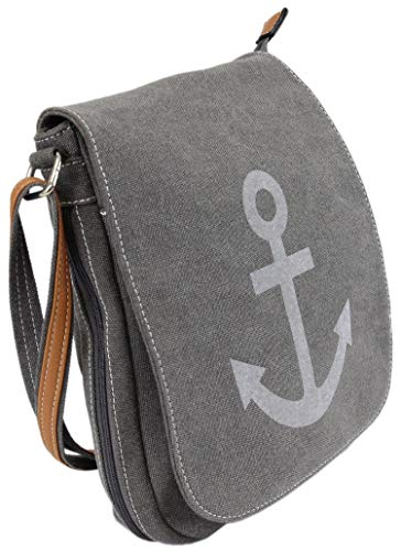 irisaa Damen Umhängetasche, Multifunkionale Schultertasche, Crossbody Handtasche mit Anker-Motiv, Magnetverschluss, Damen Tasche:Grau