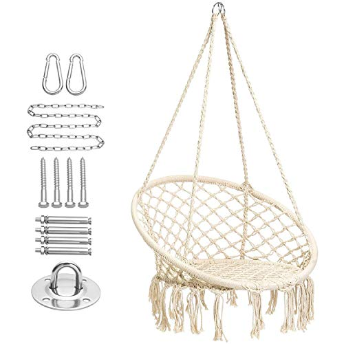 CCTRO Hammock Chair Macrame Swing with Haning Hardware Kits,Boho Style Hanging Swing Chairs for Indoor/Outdoor Home Patio Porch Yard Garden Deck,265 Pound Capacity (A Beige)
