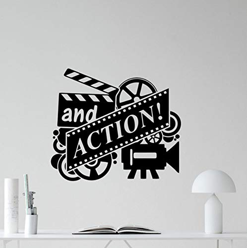 Aisufen Action Movie Muursticker Film Reel Cinema Home Theater Vinyl Sticker Muurdecoratie Verwijderbare Behang Lijm Muurposters 49 * 42Cm