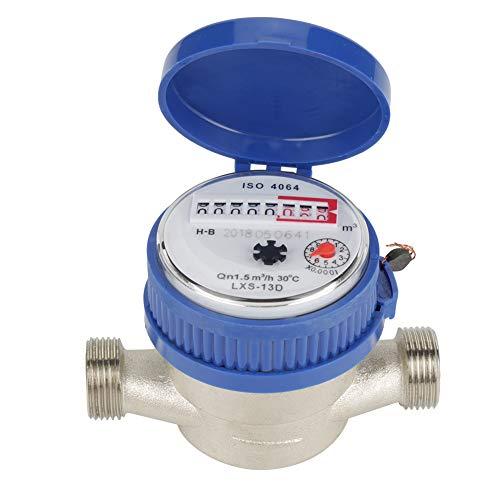 Kaltwasserzähler, 15mm 1/2 Zoll Wasserdurchflussmesser mit Zubehör für Garten Zuhause Wasserzähler
