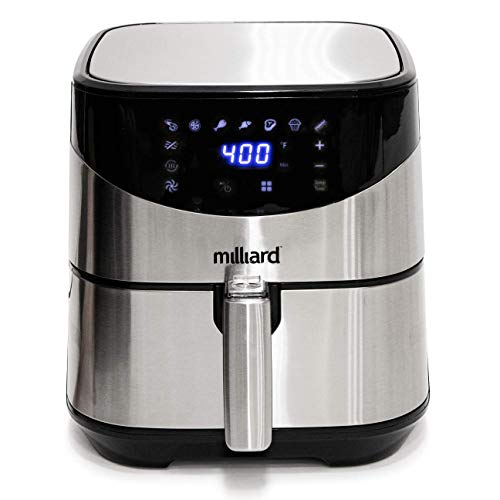 Milliard Air Fryer, 5.8QT Oil Free with 8 Different Cooking Settings and Dehydrator, Dishwasher Safe: Recipe Book Included, X-Large Family Size