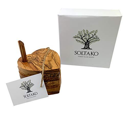SOLTAKO Untersetzer aus hochwertigem Olivenholz natürlich und unbehandelt in Herzform Durchmesser ca. 12 cm als Set 6tlg.