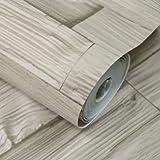 YACAS Estilo Chino Grano De Madera De Ladrillo Vinilo Papel Tapiz Exfoliante 3D PVC Lavable En Relieve Cocina Sala De Estar Decoración De La Pared 5.3M2 Color Natural