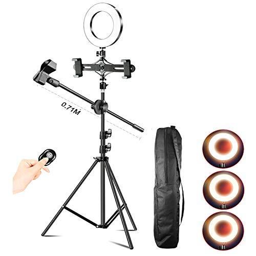 FACAZ Anillo de luz LED de 16 CM, con Control Remoto Bluetooth y Soporte Ajustable para teléfono móvil, luz de Relleno con Temporizador automático para fotografía de Video, 1,2 m