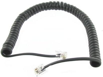 STEREN 302-007 Black Coiled Handset Cord Landline Telephone Accessory