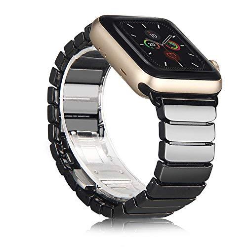 ANBEST Kompatibel mit Apple Watch Armband 38mm 40mm 42mm 44mm, Keramik Ersatzarmband für Apple Watch Serie 5/4/3/2/1(Schwarz)