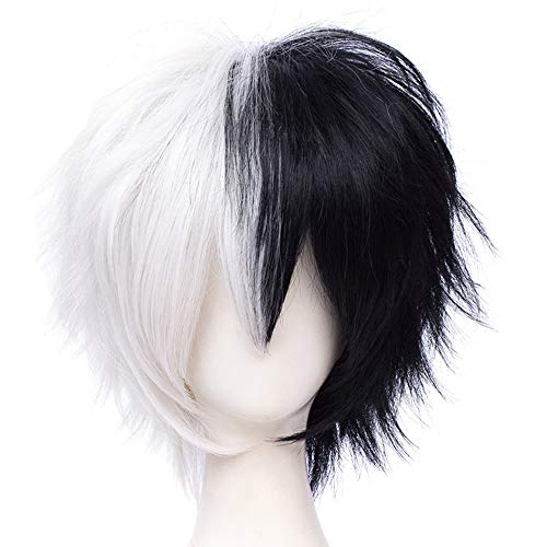 Max Beauty Unisex Anime Short Cosplay Wigs With Bangs Heat Resistant Hair for Party and Halloween for Gift + Free Cap (Two Tone)