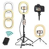 Magicfun Luce ad Anello LED, 10'' Luce per Selfie con Treppiede & Telecomando, 3 colori e ...