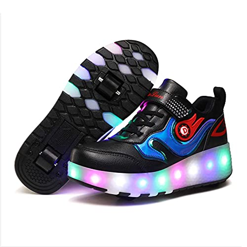 JYMEI Zapatos De Patines para Niños, Doble Rueda LED Gimnasia Al Aire Libre Zapatillas Luminosas Zapatillas De Skate Técnicas con Carga USB,Negro,36