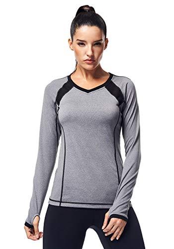 Matymats Langärmeliges Workout-T-Shirt für Frauen, Active-Yoga-Lauf-Top, mit Daumenlöchern - Grau - Mittel