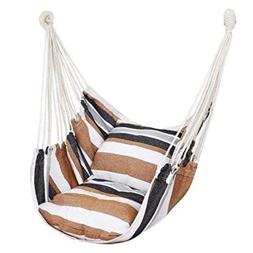 SHUAISHUAI Silla de Hamaca Cuerda para Colgar Asiento de Swing para al Aire Libre Interior, Tejido de algodón de algodón Columpio para el Porche de Patio de Dormitorio Fácil instalación