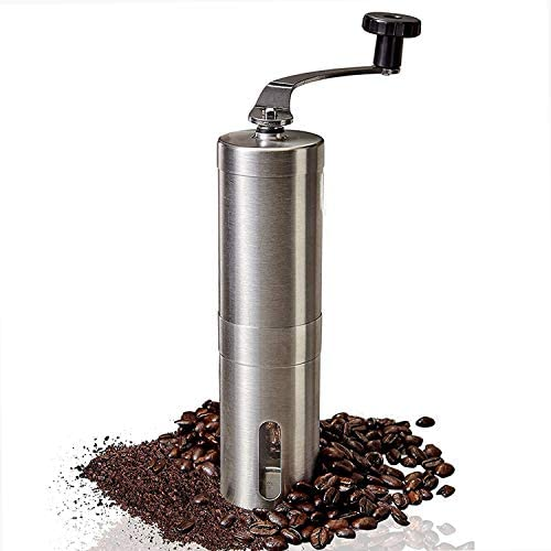 TopWang Manual Coffee Mill Adjustable Setting Silver Ceramic Portable Coffee Grinder for Home product image