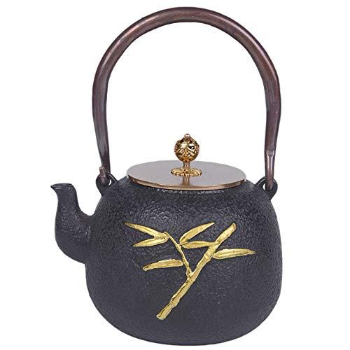 WTDlove Eisen Topf antike japanische Gusseisen Topf Goldener Bambus Roheisen Wasserkocher Kochen Wasser Topf Tee Teekanne 1,2 L