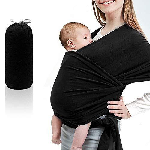 Phiraggit Babytragetuch Kindertragetuch, Atmungsaktiv Tragetuch Unisex-Babytrage Koala-Kuschelband-Babytrage für Neugeborene bis 20 kg Leicht zu Tragen (schwarz)