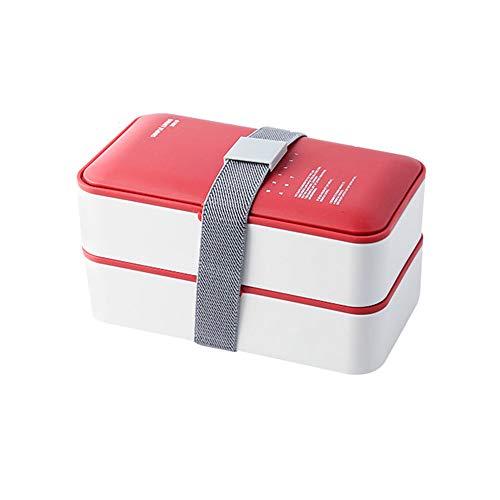 Double-Layer Lekvrij En Handig Plastic Bento Box Magnetron Gescheiden Bento Box Office Picknick Benodigdheden Bento Opslag Van Voedsel Box Box Volwassen,Red