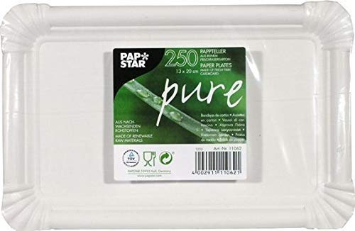 Papstar Lot de 250 Assiettes Carton Pure Rectangulaire, Dim.:130x200mm