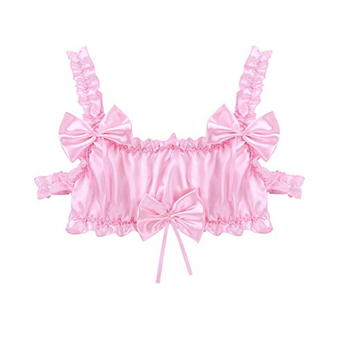 JUN-STORE Senmia-Abbigliamento. Wire-Libera Bra Uomo Top Elastico Cinghie della Biancheria di Colore Rosa/Nero Soft Top in Raso Increspato Frilly (Color : Pink, Size : XXL)