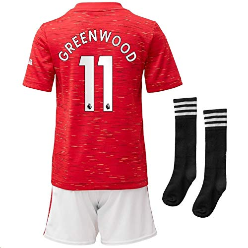 Jertinhf 2020-2021 Kids/Youths Home Soccer Jersey/Short/Socks Colour Red (Manchester United Greenwood #11(11-13years/size28))