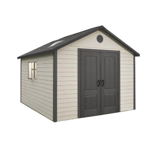 Lifetime 6433 Outdoor Storage Shed with Windows, 11 x 11 Ft, Putty/Brown