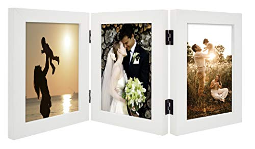 Golden State Art, Decorative Hinged Table Desk Top Picture Photo Frame, 3 Vertical Openings, with Real Glass (5x7 Triple, White)