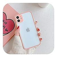 LLYAP カメラ保護for iPhone 12 Mini 11 Pro Max XR XS Max 6S 8 7 PlusSE2マットバンパー耐衝撃ソフトTPUクリアケース用電話ケース-Pink-for iPhone 6s Plus