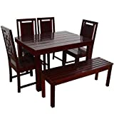 Furny Della Solid Wood (Teak Wood) 6 Seater Dining Table Set - with Bench - Mohgany Polish