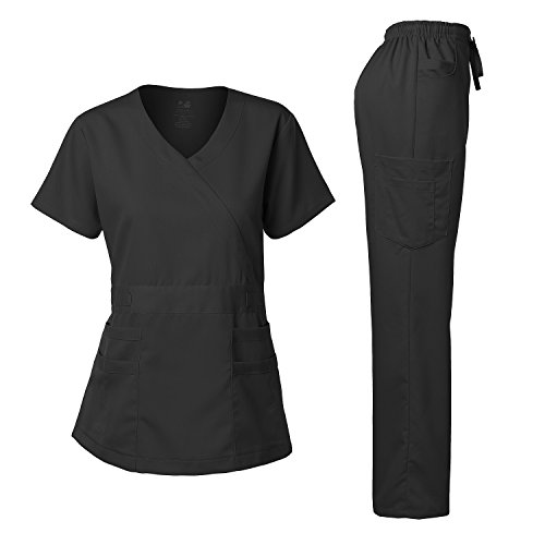 Women's Scrubs Set Stretch Ultra Soft Y-Neck Wrap Top and Pants Black S