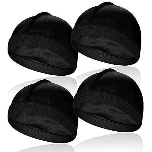 4 Pcs Elastic Silky Wave Cap, Satin Men Doo Rags Caps for 360, 540, 720 Waves, Great for Athletes, Hip-hop Lovers and so on
