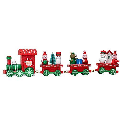 Seawang Treno Natalizio Decor Trenino Ornamentale Di Natale Di Legno Giocattolo Regalo Per Bambini, Famiglia,Bianca
