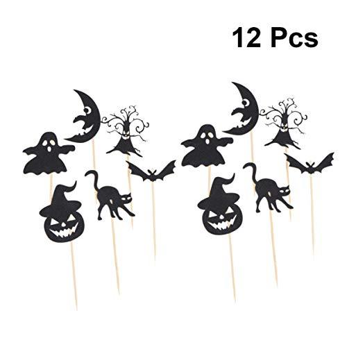 BESTOYARD Halloween Cupcake Topper Hexe Katze Elf Mond Kuchen Picks Cupcake Topper Dekoration für Halloween Party Supplies (schwarz)