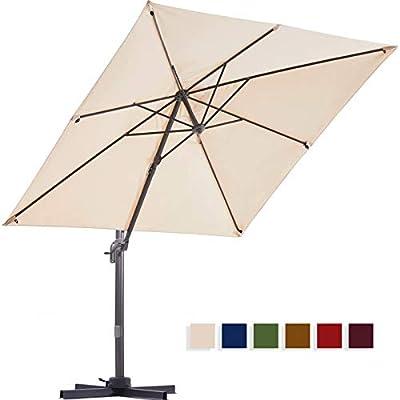 BLUU Solution Dyed Patio Cantilever Umbrella, Aluminum Outdoor Offset Square Umbrella Market Hanging Umbrellas for Deck & Garden, 360° Rotation w/Integrated Tilting and Cross Base (Beige)
