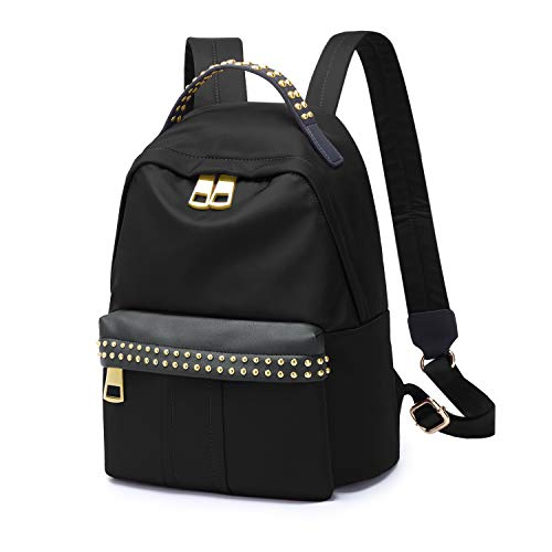 Wind Took Rucksack Damen Daypack Schulrucksack Nylon Mode Kein Niet für Schule Büro Alltag, 24 x 12 x 30 cm, Schwarz