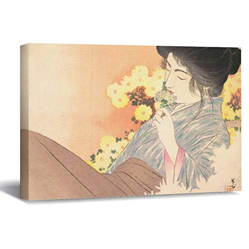 Japanese Beauty with Flower Geisha Maiko Tattoo Canvas Picture Painting Artwork Wall Art Poto Framed Canvas Prints for Bedroom Living Room Home Decoration, Ready to Hanging 16'x24'