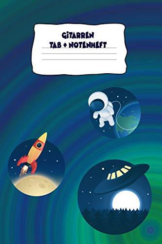 Gitarren Tab + Notenheft1: Space Cover Notizbuch zur Musik Inspiration, 120 beschreibbare Seiten, 6x9 Zoll (215.9 x 279.4 cm), abwechselnd: ... 5 Tab und Tabulatur Zeilen und Notenseite