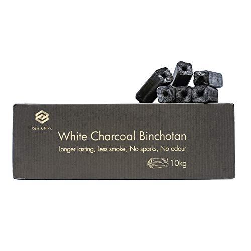 Ken Chiku Carbon Blanco Binchotan | 10kg De Briquetas para Barbacoa | Quema para Mucho Tiempo | Sin Humo Ni Olor | Carbón Grado Restaurante | Asegura Comida con Sabores Puros