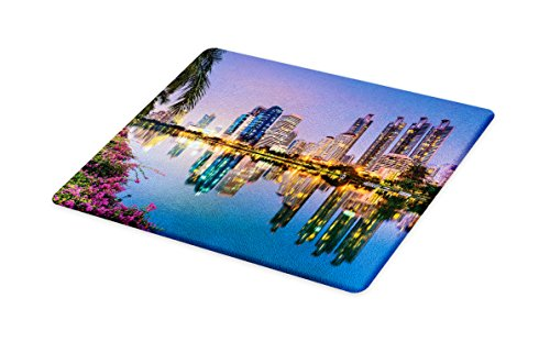 Lunarable Wanderlust Cutting Board, Bangkok Thailand at Benjakiti Park Lake Flowers Palms Southeast Asia Touristic, Decorative Tempered Glass Cutting and Serving Board, Large Size, Multicolor