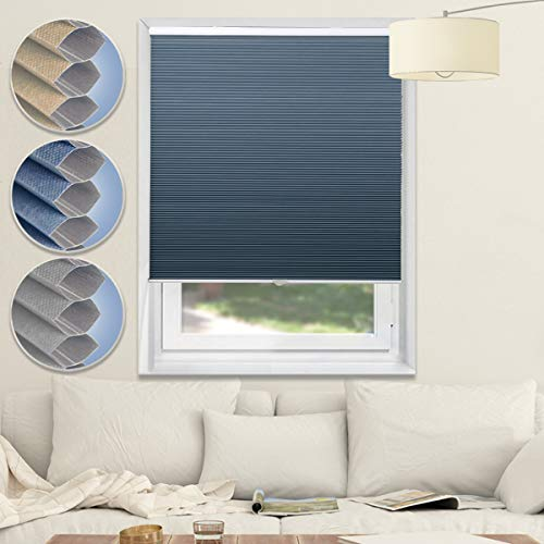 Cordless Shades Blackout Blinds Cellular Window Shades Honeycomb Blinds for Bedroom Kitchen Bathroom, Blue-White, 29x64