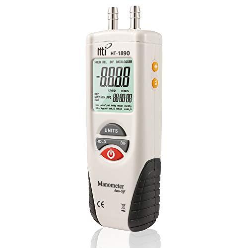 Digital Manometer, Dual Port Air Pressure Meter Pressure Gauge HVAC Gas Tester, Differential Pressure Manometer with 5/16 Inches Diameter Pressure Port, Hti-Xintai