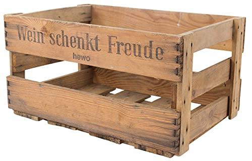 """Obstkisten-online Stabile alte Weinkiste mit Schriftzug """"Wein schenkt Freude"""" Deko Gebraucht (4,8) - 3"""