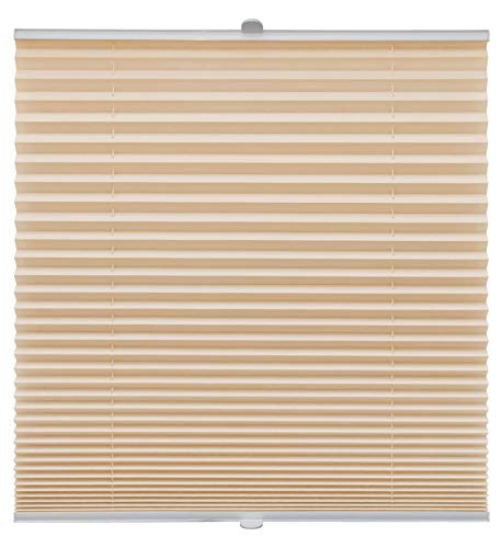 Plissee auf Maß für alle Fenster Montage Glasleiste Blickdicht mit Spannschuh Sonnenschutzrollo Hellorange Breite: 81-90 cm, Höhe: 101-150 cm