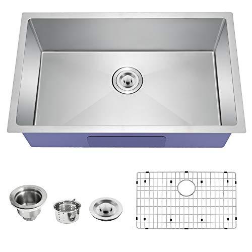 TopCraft Kitchen Sink Undermount Kitchen Sink Stainless Steel Sink Single Bowl Kitchen Sinks Bar Sink with Strainer & Bottom Grid,30 Inch