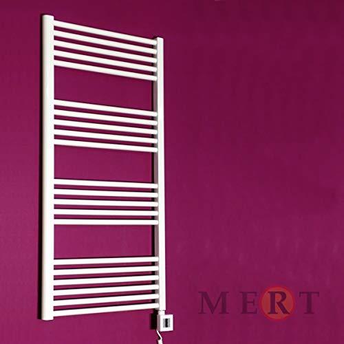 Mert E1 - Calefactor eléctrico para baño (800 x 600, sin termostato, con toallero, para montaje en pared), color blanco