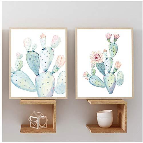 HANJIANGFBH Lámina en Colores Pastel Acuarela Cactus Lienzo Pintura Cartel botánico Pared Arte Cuadros para Sala de Estar decoración del hogar -50x70 cm sin Marco
