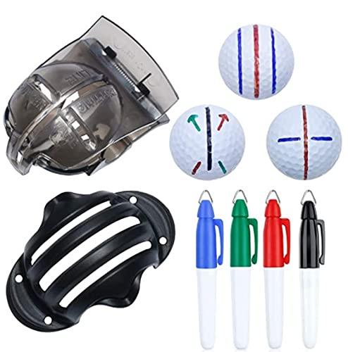 Timpfee Juego de herramientas de marcado de pelota de golf para marcado de pelotas de golf, 2 plantillas de marcado de pelotas de golf y 4 marcadores de color, 6 unidades