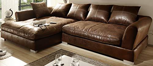 Reboz Big Sofa Ecksofa Vintage Braun Schwarz Ausrichtungen (Vintage Hellbraun, Links)